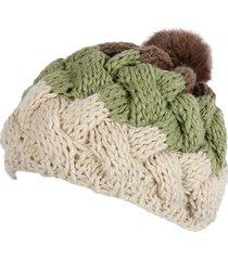 cappello con cappuccio in poliestere lavorato a maglia in pelliccia coniglio