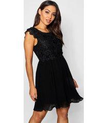 boutique geplooide gewoven kanten skater jurk, zwart