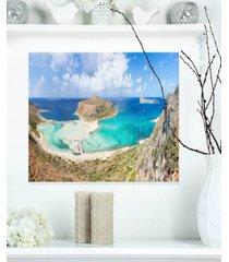 "designart 'balos beach at crete island greece' oversized beach metal wall art - 20"" x 12"""