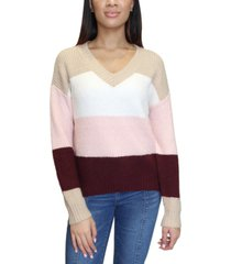 almost famous juniors' colorblocked v-neck sweater