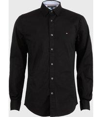 camisa tommy hilfiger lic m commerce cf stretch ls azul - calce regular