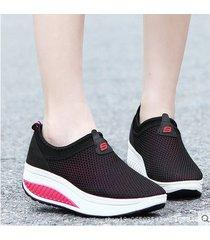mujer zapatillas de deporte ligeras con plataforma y cuña