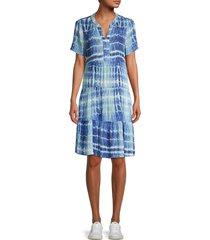 beach lunch lounge women's coley tie-dye dress - aegean - size xl