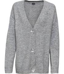 cardigan oversize con bottoni decorati (grigio) - bodyflirt