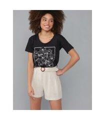 amaro feminino t-shirt fly garden decote u, preto