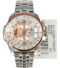 reloj casio ef-558d-7a para caballero lujoso plateado/ cobrizo