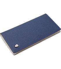 billetera, cruzada de paja con forma de cartera larga-azul