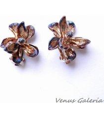 brązowe magnolie - klipsy srebrne