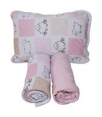 jogo lençol berço americano 3 peças 100% algodão ovelha rosa