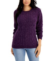 karen scott chenille cable-knit crewneck sweater, created for macy's