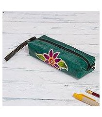 leather case, 'cusco flower' (peru)