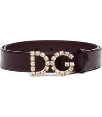 dolce & gabbana dg crystal logo belt - purple