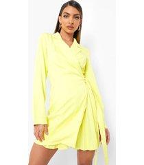 geweven geplooide wikkel blazer jurk, yellow