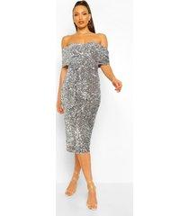 tall midi jurk met pailletten, ceintuur en open schouders, silver