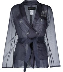 fabiana filippi sheer-sleeve blazer - blue