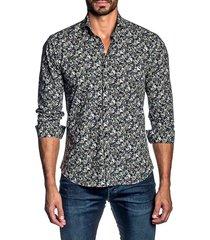 jared lang men's cotton paisley-print button-front shirt - navy - size m
