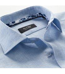 olymp signature overhemd linnen blauw 855034-11