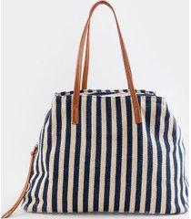 audrey stripe tote - navy