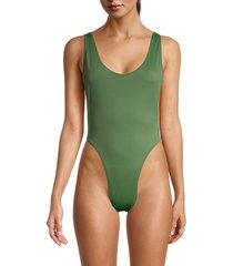 norma kamali women's marissa scoopneck one-piece swimsuit - celadon - size xs
