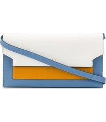 marni bellows shoulder strap wallet - white