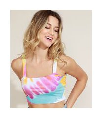 top cropped feminino estampado tie dye decote reto alças finas multicor