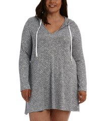 la blanca beach sweater hoodie cover up, size 3x in grey at nordstrom