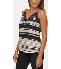 calvin klein striped v-neck cami blouse