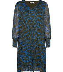 dhzitha dress korte jurk blauw denim hunter