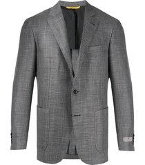 canali textured woven blazer - grey
