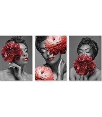 quadro 60x120cm canvas bessie mulher com flores vermelhas - tricae