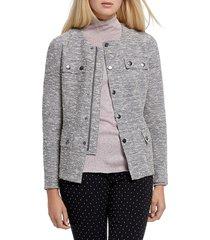 nic+zoe women's the ritz tweed jacket - grey - size m