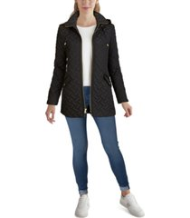 cole haan faux-leather trim quilted coat, created for macy's