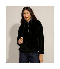blusão em veludo com capuz e zíper argola preto