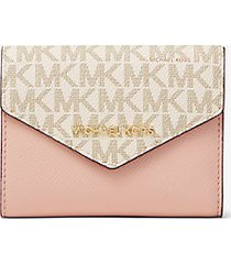 mk portafoglio a bustina medio in pelle con logo - vanilla/soft pink - michael kors