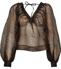printed organza blouse blouse lange mouwen bruin ganni