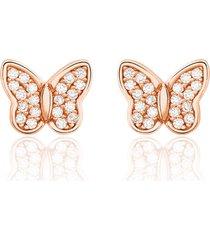 orecchini in argento forma farfalla con zirconi per donna