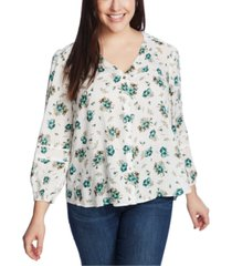 1.state trendy plus size festival roses piped blouse