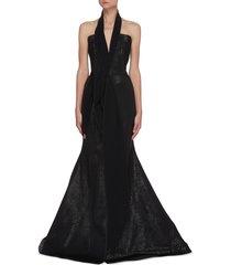 significant' drape halterneck shimmer gown