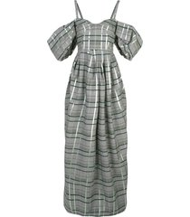 off-shoulder check gown