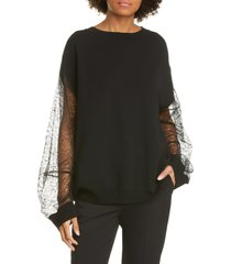 women's adam lippes lace sleeve merino wool blend sweater