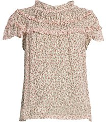 rebecca taylor women's francesca floral tier-ruffle silk-blend blouse - navy combo - size 0