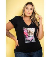 t-shirt babado com aplicação black plus size