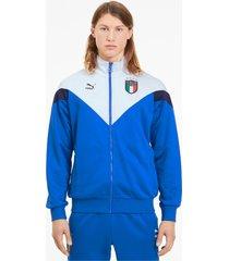 italia iconic mcs track jacket voor heren, blauw/wit, maat m | puma