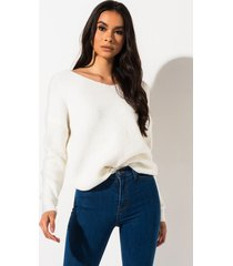 akira posh and prim knot back sweater