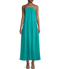 melody pleated halter long dress