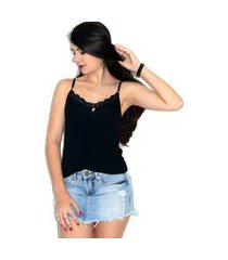 blusa regata up side wear com renda preta
