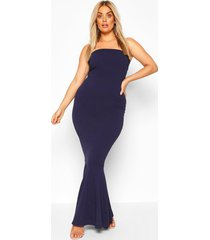 plus bandeau fishtail maxi dress, navy