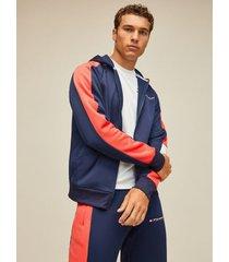 tommy hilfiger men's colorblock hoodie hibiscus - l