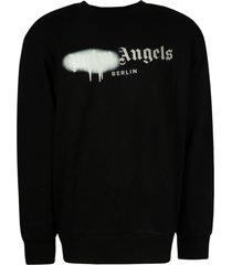 palm angels milano sprayed logo crew sweatshirt