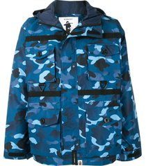a bathing ape® shark multi-pocket camouflage jacket - blue